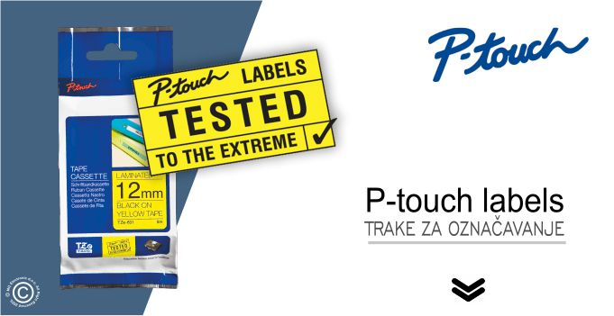 Brother P-touch TZe trake labels naljepnice © All Rights Reserved M.G. Electronic d.o.o. 2020.